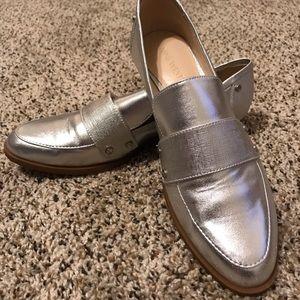 Fun silver loafers!